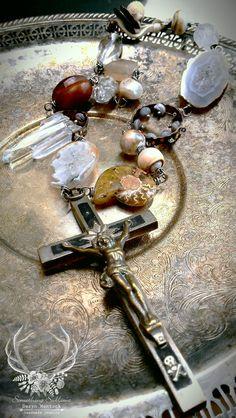Gathering found object art jewelry boho necklace by derynmentock