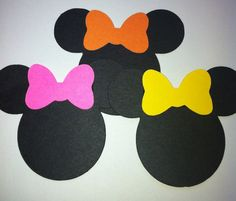 """30 5"""" Minnie Mouse Head Silhouettes Black Cutouts with any color Bows  Die Cut  Scrapbooking. $16.00, via Etsy."""