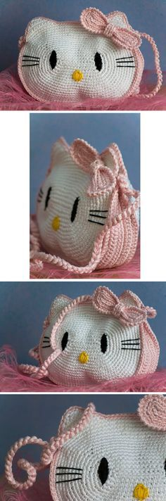 Hello Kitty bag - *Inspiration* It looks pretty easy if you break it down, 2 large ovals, add ears, sides and bow made in pink and all stitched together in the same pink with a pink strap. You could embroider on the facial features or glue on felt.༺✿ƬⱤღ http://www.pinterest.com/teretegui/✿༻