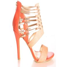 coral faux leather textured look open toe style back zipper high heels ($6.99) ❤ liked on Polyvore