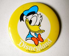 SOLD! 1970s Disneyland Pinback Button // DONALD DUCK // 3 by JackpotJen, $5.00
