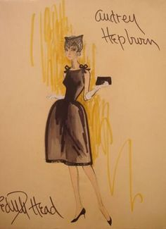 Edith Head illustration of a Givenchy design  for Audrey Hepburn in Sabrina