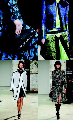 Proenza Schouler continues to push the envelope when it comes to colors and materials. I am not one to wear neon green, but this blue Jacquard with a touch of neon is something I wouldn't hesitate to add to my closet. Of course, the black and white looks are my favorite.