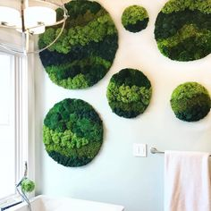 These lush, tranquil moss circles create a natural serene space. Reconnecting with nature is possible at any time with our custom moss art. Zero maint… - All About Moss Wall Art, Moss Art, Green Garden, Green Plants, Graffiti En Mousse, Island Moos, Fleur Design, Forever Green, Deco Nature