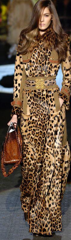 Roberto Cavalli leopard dress coat onesie, leopard is a neutral, runway fashion, couture Glamour Fashion, Look Fashion, Fashion Art, Runway Fashion, High Fashion, Womens Fashion, Chanel Fashion, Trendy Fashion, Leopard Fashion