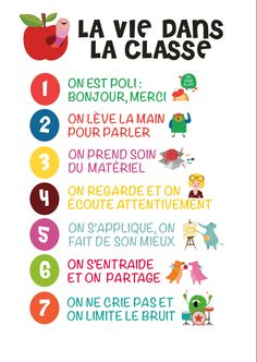 poster vie en classe Furthermore, I am a new well-known frequent education and learning tutor French Classroom Decor, Classroom Setup, Classroom Organization, French Teaching Resources, Teaching French, Teaching Tools, Classroom Management Techniques, Classroom Rules Poster, French Education