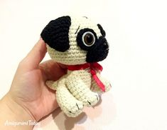 Crochet Dolls Baby Pug Dog crochet pattern - printable PDF - There's nothing cuter than a baby pug dog, excepting one you can carry in the palm of your hand! Make a cute souvenir for your loved one with the help of this step-by-step Baby Pug Dog pattern. Crochet Teddy Bear Pattern, Crochet Animal Patterns, Dog Pattern, Crochet Bunny, Stuffed Animal Patterns, Crochet Patterns Amigurumi, Cute Crochet, Crochet Animals, Crochet Dolls