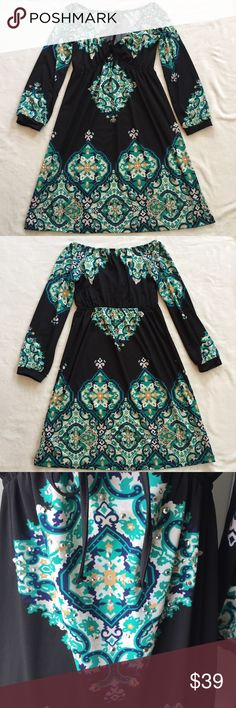 🎉FLASH SALE🎉 INC International Concepts Dress 🎉Flash Sale🎉 7/9 only 💰Price is firm 🚫Sorry, no trades. INC International Concepts black dress with white, blue, green and mustard paisley, detailed with rhinestones. Long-sleeves.  Elastic around bust/waist with ribbon tie.  Size: XS Measurements: 	•	waist: 29 	•	bust: 33 	•	hips: free 	•	length: 30