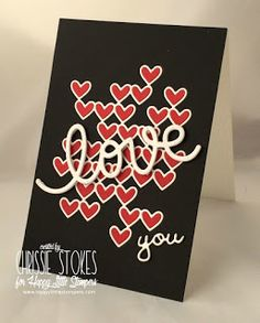 handmade love/Valentine card from Simply One of a Kind . black card with red and white die cuts . luv the inlaid heart grid . Valentine Love Cards, Valentine Heart, Heart Cards, Simon Says Stamp, Card Kit, Invitation Cards, Invitations, Creative Cards, Die Cutting
