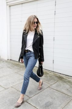 weekend outfit-cropped jeans-frayed denim-glove shoes-moto jacket-white tee-black leather moto jacket jeans and a tee-