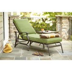 Hampton Bay, Pembrey Patio Chaise Lounge with Moss Cushion, HD14218 at The Home Depot - Mobile