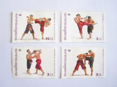 Beautiful Thai Stamps Collecting Muay Thai Stamps in 2003 Unused Thailand by SUWANNABHUMI. $57.77. Original muay thai positions. Unused. 4 Pieces in set. 3 Baht/Pieces. Thai Stamps Muay Thai in 2003. Made for Thai Heritage Conservation in 2003. Design by use original muay thai positions for fighting!!!
