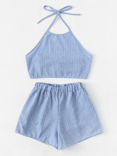 Knot Back Halter Top With ShortsFor Women-romwe Cute Lazy Outfits, Teenage Girl Outfits, Teen Fashion Outfits, Teenager Outfits, Girly Outfits, Look Fashion, Outfits For Teens, Trendy Outfits, Cool Outfits