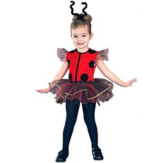 Lil' Lady Bug Toddler Costume - Features include a one-piece Red and Black ladybug leotard with tulle tutu and shoulder accents, as well as an antennae headpiece.  Tights and shoes not included. 2-4T.