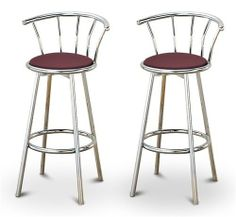 """2 Burgundy / Maroon Vinyl Specialty / Custom Chrome Barstools with Backrest Set by The Furniture Cove. $154.88. Burgundy Vinyl Seat. Swivel Seat. Chrome Finish. 24"""" Tall to Seat. Back Rest and Foot Rest. These are new, 24"""" chrome bar stools with footrests and swivel seats with a backrest! These Feature burgundy / maroon vinyl seats that are cool and unique. The pads are 14"""" across and the seat is 24"""" tall. The entire height is 34"""". The sides of the seat have nice metal work and ..."""