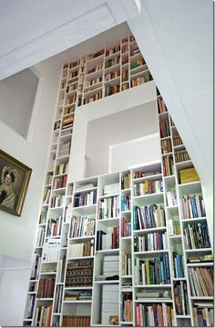 Cool wall of books. I like the window.