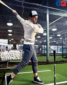 Here's catcher/first baseman/runway model Buster Posey in GQ. You can tell Buster is full recovered from the home plate collision in 2011. because he's proudly showing off his ankles, like a harlot from the 19th century.