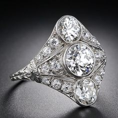 Three-Stone Diamond Art Deco Dinner Ring