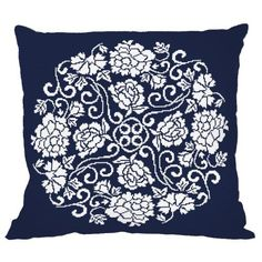 Cross stitch kit - Pillow - Chinese porcelain II Cross Stitch Embroidery, Cross Stitch Patterns, Cross Stitch Flowers, Stitch Kit, Porcelain, Chinese, Throw Pillows, Filet Crochet, Needlework