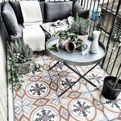 Easy And Stylish Small Balcony Design Ideas Balcony Tiles, Condo Balcony, Balcony Flooring, Tiny Balcony, Small Terrace, Outdoor Balcony, Apartment Balconies, Balcony Garden, Outdoor Decor