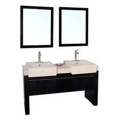 Bellaterra Home Serrana 57.75-in. Double Bathroom Vanity with Optional Mirrors - http://bathroomvanitiespot.com/bellaterra-home-serrana-5775in-double-bathroom-vanity-with-optional-mirrors-bth208-1/