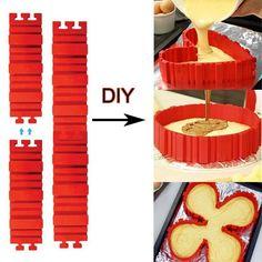 4 Pcs/set Silicone bakeware Magic Snake cake mold DIY Baking square rectangular Heart Shape Round cake mold pastry tools