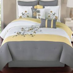 Rejuvenate your bedroom décor with the cool and contemporary Camisha Comforter Set. Complete with matching decorative pillows, this soft and smooth set features a modern floral pattern to bring a nature-inspired vibe to your space. Floral Bedroom Decor, Bedroom Colors, Bedroom Sets, Bedrooms, Bed Cover Design, Bed Linen Design, Full Comforter Sets, King Comforter, Designer Bed Sheets
