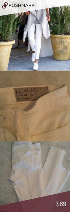 All Saints raw hem white skinny jeans Great condition! All saints raw hem mast fit skinny jeans All Saints Jeans Skinny