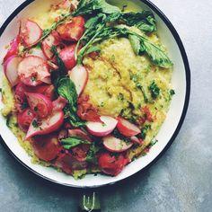 Garlicky Radish Greens Polenta with Crispy Shallots and Radishes.