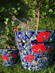 Mosaic Poppy Pot, Planter, Kokino Garden Project 2011