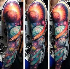galaxy space full sleeve tattoo                                                                                                                                                      More