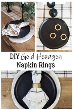 DIY Napkin Rings - Gold Hexagons - These easy to make, DIY Napkin Rings are so unique being made into hexagons! The gold paint just takes them to the next level and makes them elegant! An upgrade to any of your table settings! Only a small amount of wood is needed and a few minutes of time, excellent beginner DIY project and craft! Make them for your holiday table setting or everyday table setting, they will look great with either! #easydiycraft #beginnerwoodworking #holidaytablesettings