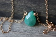 Jade Gold Necklace 14k Filled Dainty by TaraJacksonJewelry on Etsy, $36.99