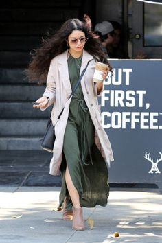 64 affordable celebrity style looks: Vanessa Hudgens looks chic in her olive maxi from H&M.