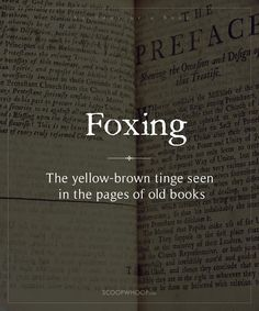 Ever picked up an old book and admired the way the white has faded into yellowish-brown? This discolouration is called foxing and the pages are called foxed. Here Are 15 Terms Describing The Anatomy Of A Book. We Bet You Didn't Know Them All Interesting English Words, Unusual Words, Weird Words, Rare Words, Unique Words, New Words, Cool Words, Beautiful English Words, English Phrases