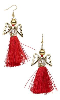 Earrings with Silk Tassels, Antiqued Gold-Plated Pewter Beads and Gold-Plated Brass Beads - Fire Mountain Gems and Beads