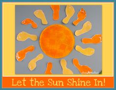 Summer Bulletin Board of Painted Footprint Rays around Painted paper plate