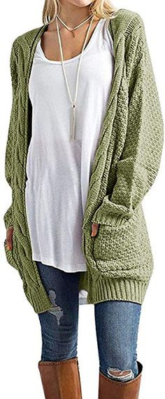 fe28638f1 Inorin Womens Cardigan Sweaters Long Oversized Fall Knit Open Front  Boyfriend Cardigans with Pockets at Amazon