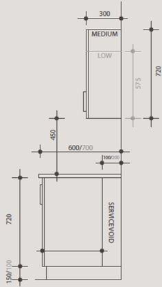 Las Medidas de los Muebles de Cocina | anaqueles | Kitchen drawing ...
