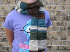 Long earth-colors scarf- green, brown, tan, turquoise. $30.00, via Etsy.