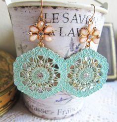 Pink and Mint Earrings Chandelier Earrings by Jewelsalem on Etsy, $25.00