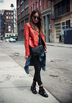 Maje leather jacket J Brand moto leather skinnys Madewell denim shirt (wrap-around) Balenciaga Buckle Strap ankle boots Proenza Schouler PS1 Chain wallet bag