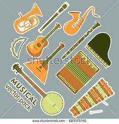 Music sticker pack vector
