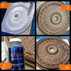 Step by step....(1)Purchased a ceiling medallion from my local home improvement store (2) Spray painted it gold using a gold metallic spray paint (3) with the help of a little antiquing glaze I ended up with (4)! The antiquing glaze plays up the character and dimension of the medallion...... Once the new bronze/crystal chandeliers are installed the antiquing is going to be a beautiful up-lit detail.
