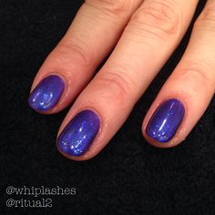 CND Shellac in Purple Purple with Periwinkle Glitter Additive overlay.
