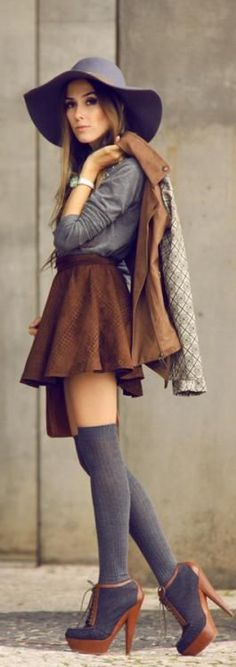 Camel and Grey... Floppy hat and skater skirt with knee highs. #fashion #beautiful #pretty Please follow / repin my pinterest. Also visit my blog http://mutefashion.com/