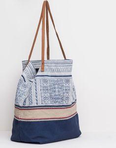 Pull&Bear - woman - bags and backpacks - printed canvas shopper bag - navy - 09821307-I2015