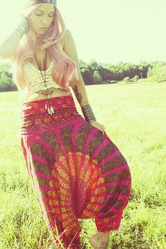 Handmade Harem Pants, Gypsy Pants, Romper, Maternity, Chakra, Aladdin, Baggy, Genie, Boho, Hippie,Yoga. $30.00, via Etsy.