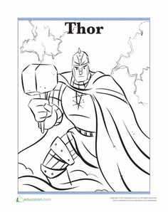 Worksheets: Thor Coloring Page