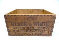 "1x 17"" x 11.75"" x 8.75"". Vintage Wood Black & White Scotch Whisky James Buchanan Scotland Advertising Box #BlackWhite"
